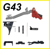LOWER PARTS KIT FOR GLOCK 43 FITS SS80 (APEX TRIGGER) RED